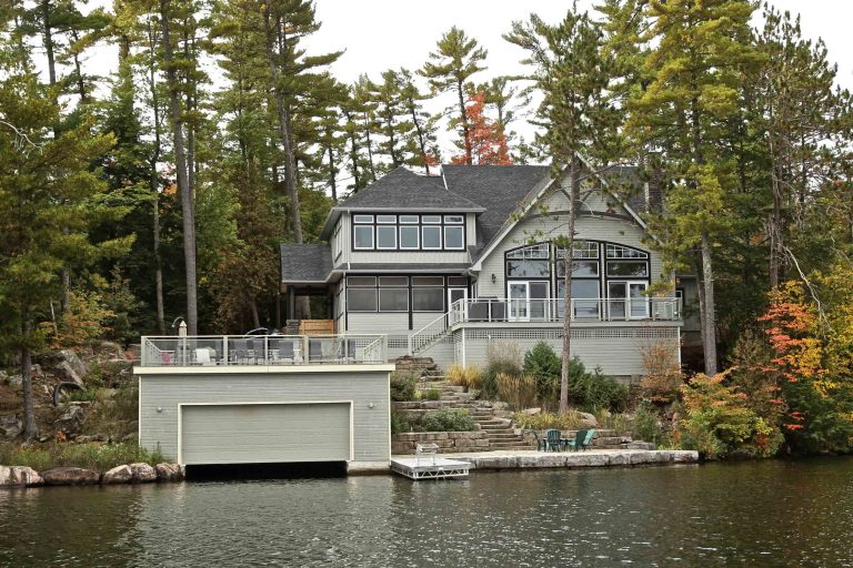 custom built cottage - exterior from lake