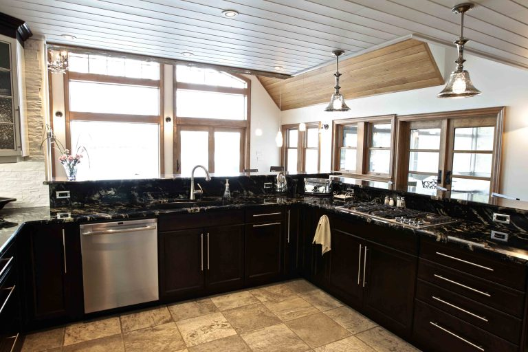 custom built cottage - kitchen looking to lake