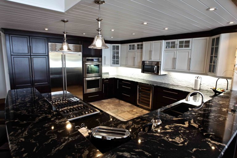 custom built cottage - kitchen from lake