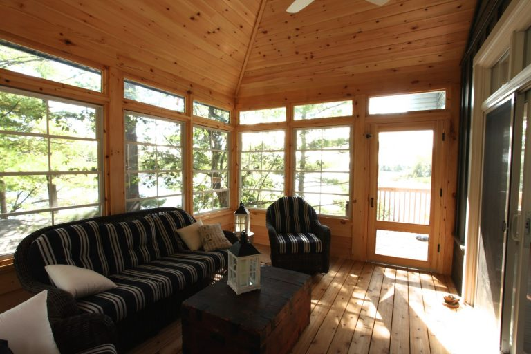 stoney lake custom cottage build-screened in porch