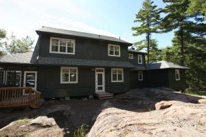 stoney lake custom cottage build-cottage exterior from back