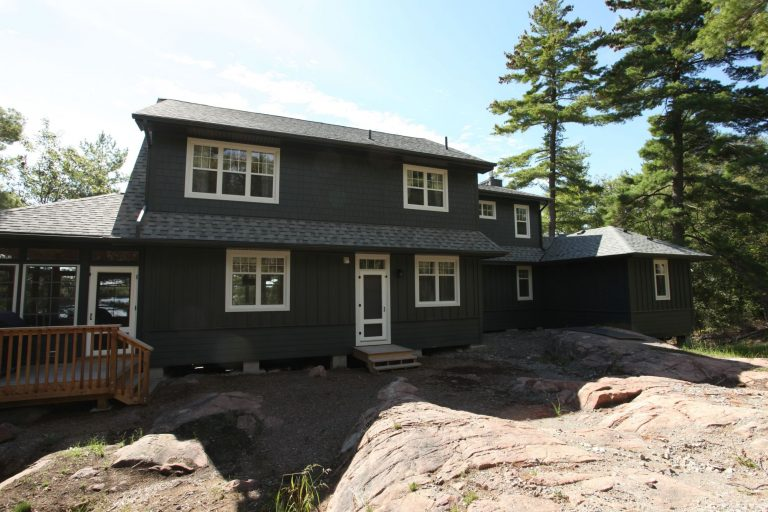 stoney lake custom cottage build-cottage exterior from back