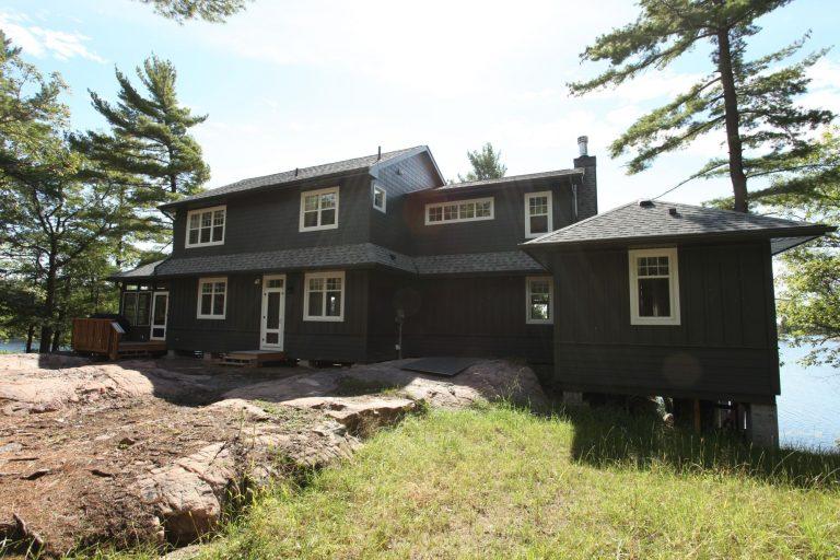 stoney lake custom cottage build-cottage exterior from back 2