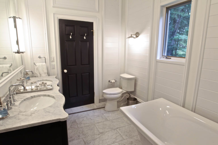 Stoney Lake Bathroom Renovation - View to Door from Shower