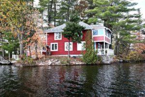 Stoney Lake cottage renovation - exterior from lake