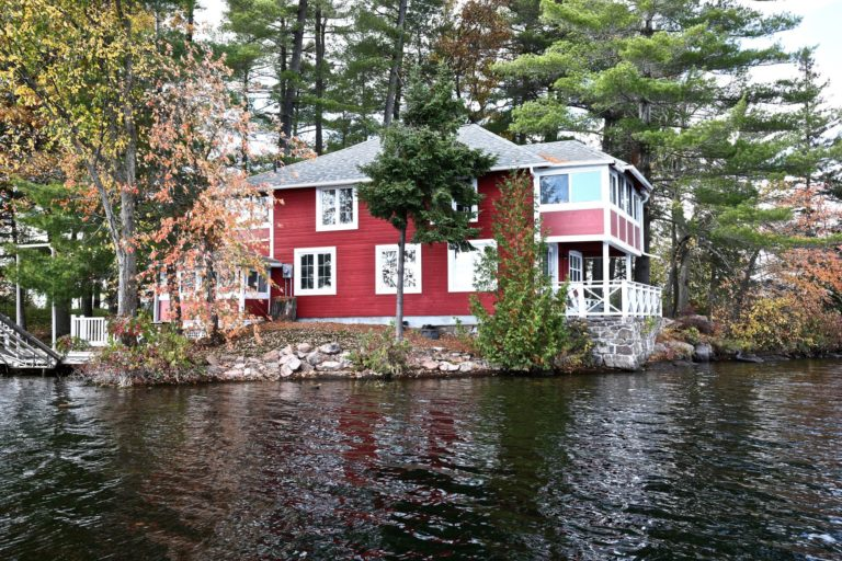 Stoney Lake cottage renovation - exterior from lake