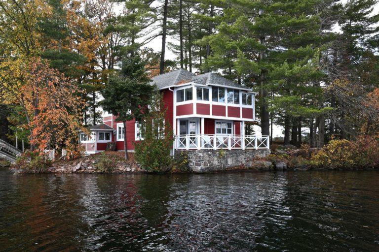 Stoney Lake cottage renovation - cottage exterior from lake