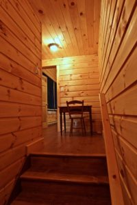 Stoney Lake island cottage renovation - walking into bunkie