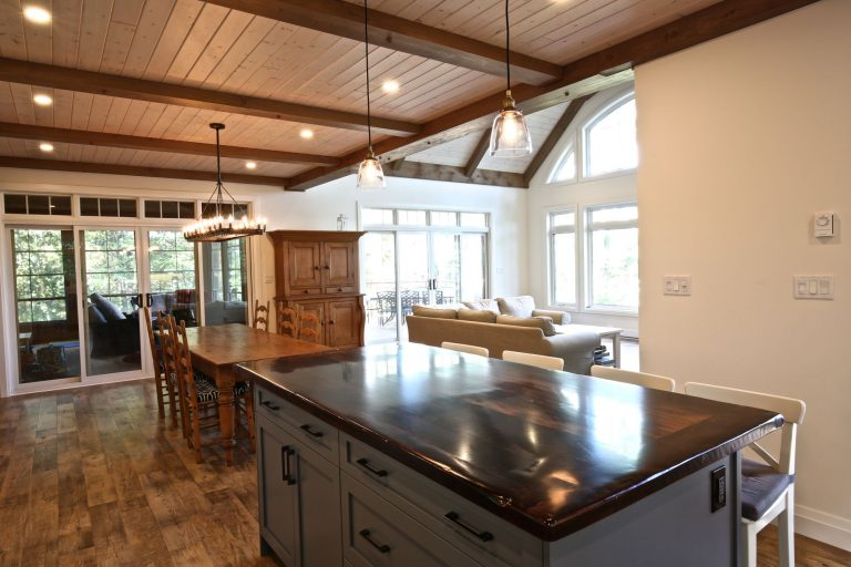Custom Built Island Cottage - Kitchen Looking into Living Room