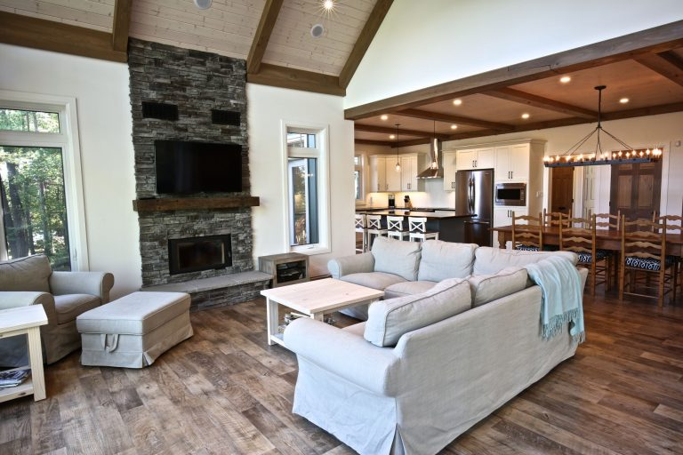 Custom Built Island Cottage - Living Room with Fireplace
