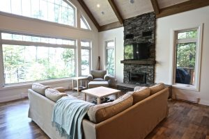 Custom Built Island Cottage - Living Room and Windows