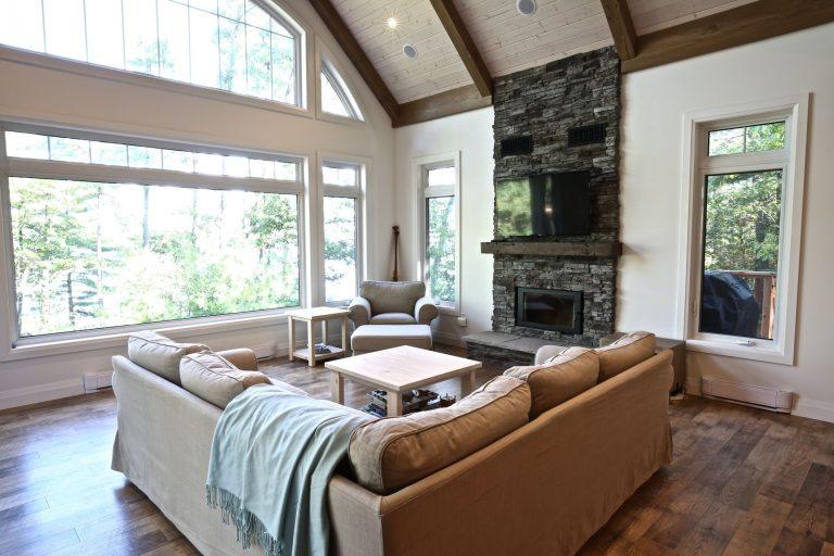 Custom Built Island Cottage - Living Room and Windows