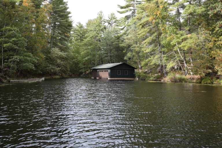Stoney Lake Island Boathouse - Wide View from Water
