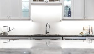 Kitchen sink and faucet view