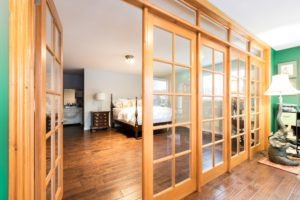 French doors and bedroom view
