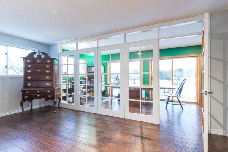 French doors and office view